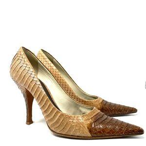 Prada python pumps two tone tan/brown Sz 38 H63